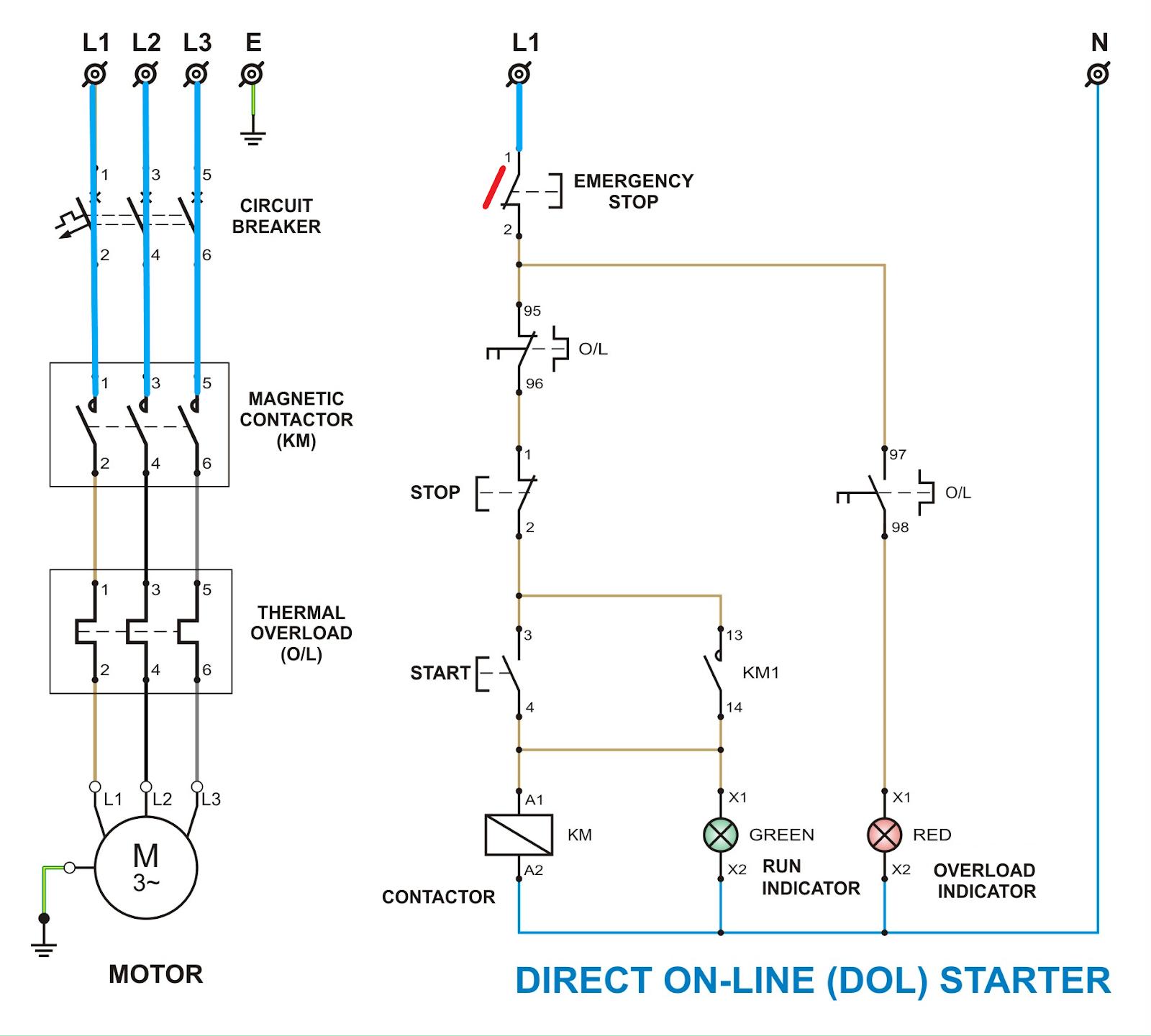 電氣生涯 Electrical Life: 電機控制電路 - 直接起動及控制線路 Direct On Line Starter with the control circuit
