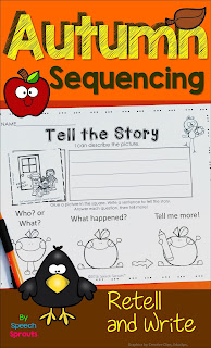 A fall writing activity with sequencing pictures for speech therapy