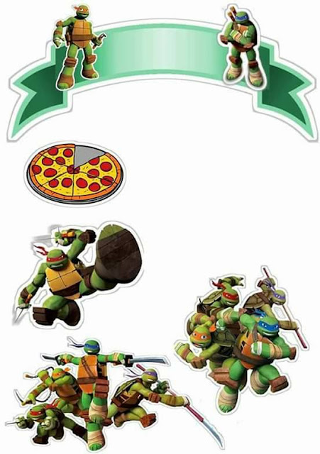 Tortugas Ninja: Toppers para Tartas, Tortas, Pasteles, Bizcochos o Cakes para Imprimir Gratis.