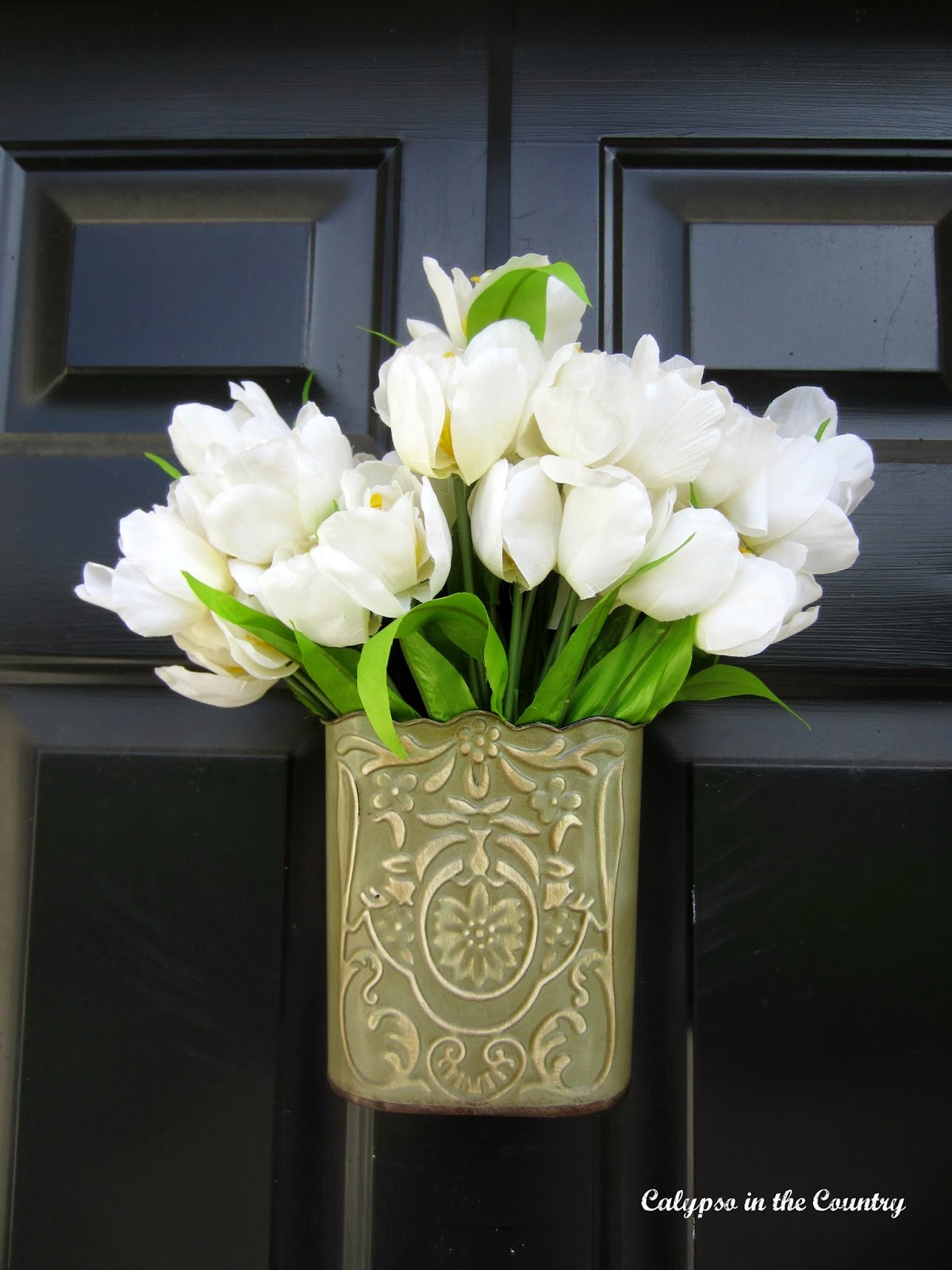 Spring Front Door Decor - Door Hanging with Tulips