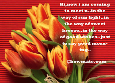 Good Morning Quotes For Friends: hi, now i am coming to meet you, in the way of sun light