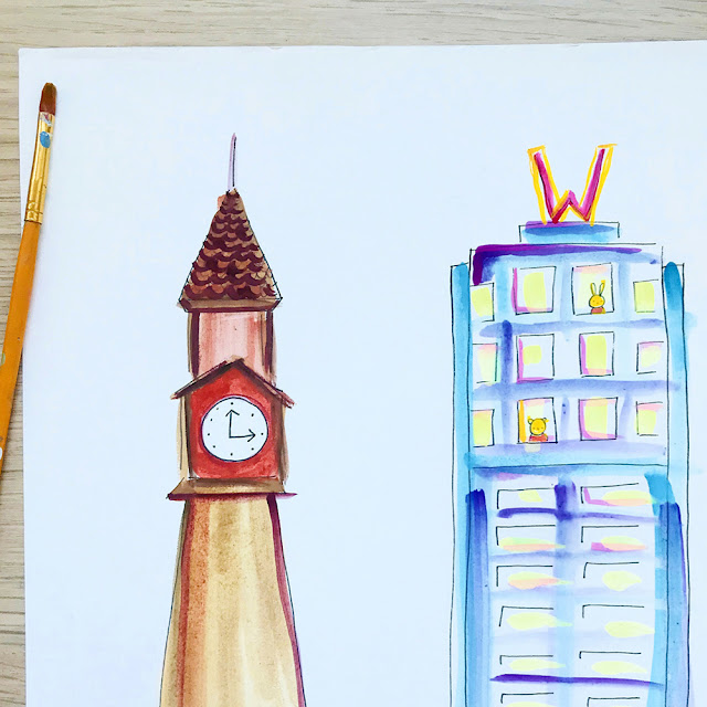 Newest Whimsy City Revealed! | Hoboken NJ Skyline by artist Lady Lucas | Linzer Lane Blog