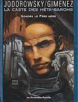Portada de la novela gráfica La casta de los metabarones, en la que se muestra a Aghora, portando una pistola y armadura galáctica.