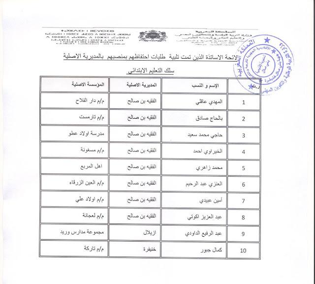 مديرية بني ملال وافقت على الاحتفاظ بالمنصب ونتائج المرحلة الثانية