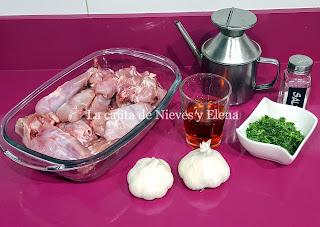 Ingredientes Conejo al ajimoroji