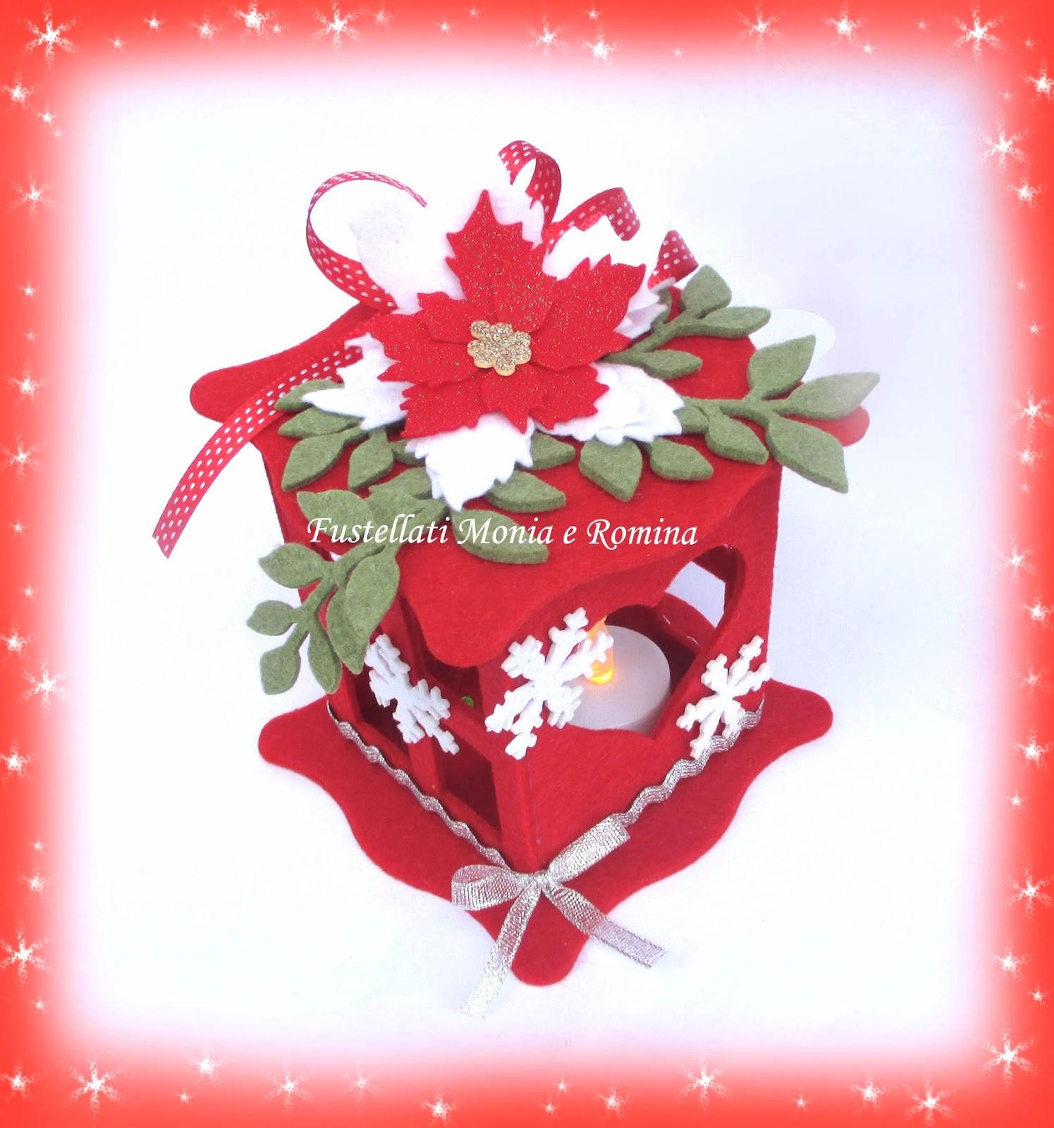 Esempi Lanterne In Feltro Con Decorazioni Di Natale Fustellati