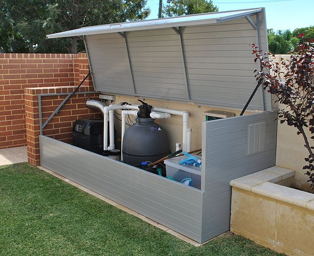 Importance of installation of a cover for your swimming for Above ground pool storage ideas