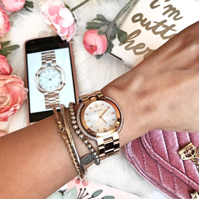 Bulova Ladies Watch Womens Rubaiyat 98R248 on wrist