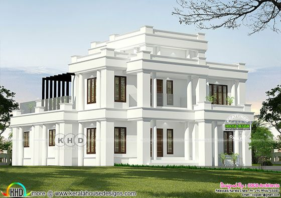 Traditional Colonial house rendering in white color