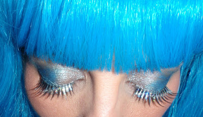 Blue shadow and glitter lashes