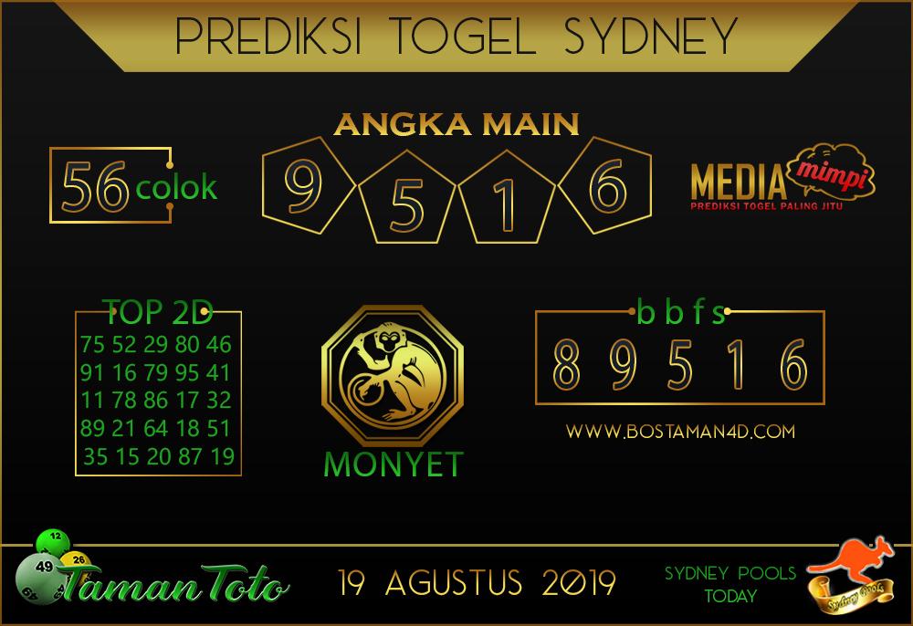 Prediksi Togel SYDNEY TAMAN TOTO 19 AGUSTUS 2019