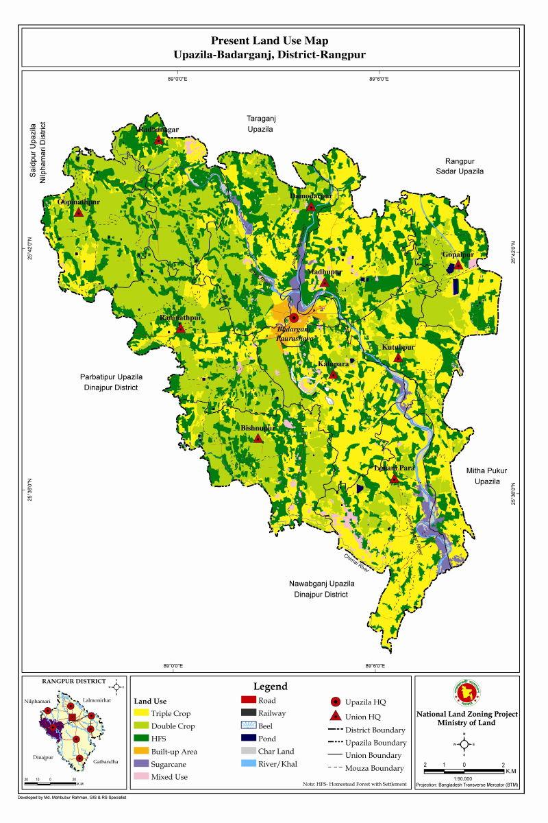 Badarganj Upazila Mouza Map Rangpur District Bangladesh