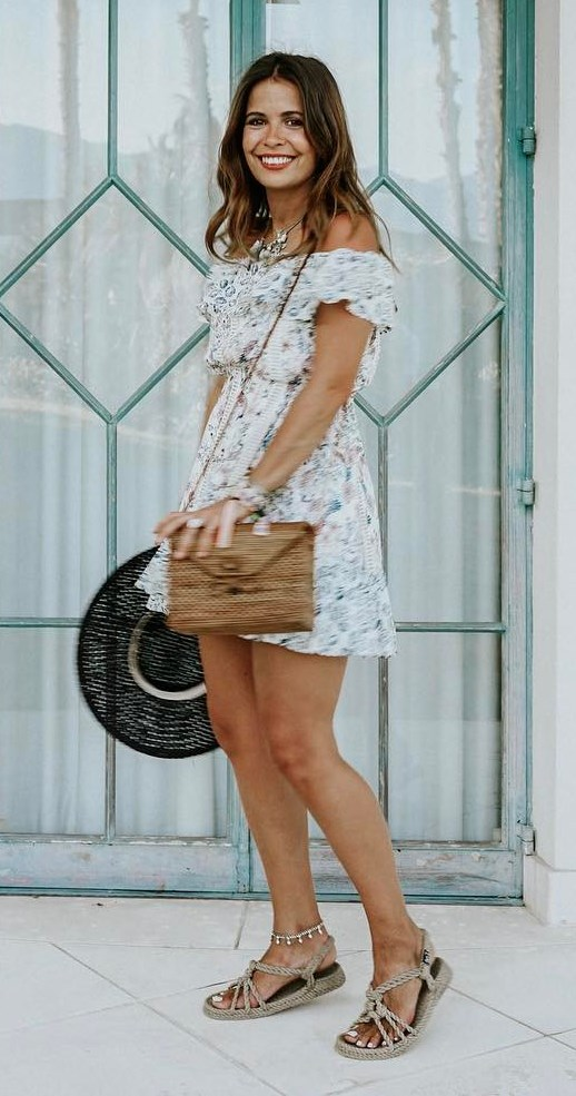 boho style addict: dress + hat + bag