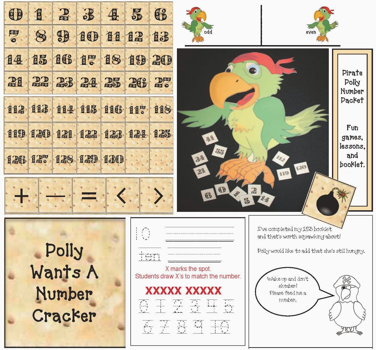 Classroom Freebies Polly Wants A Number Cracker Packet
