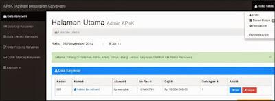 Source Code Aplikasi Pengkajian Karyawan dengan PHP
