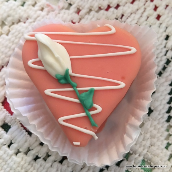 pretty pink petit four heart at Lovejoy's Tea Room in San Francisco