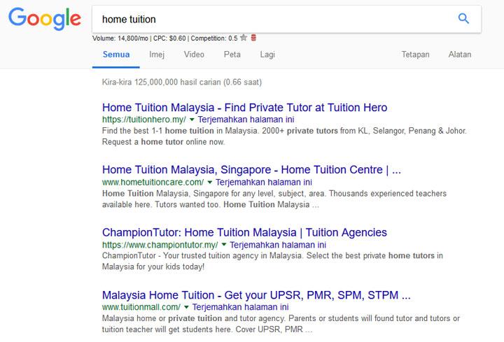 Hasil carian Home Tuition di Google