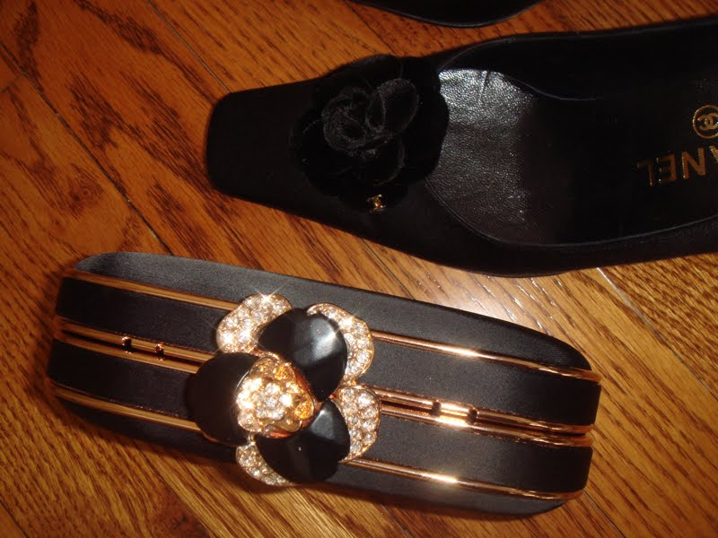 Shoes with flowers on toes. Clutch with flower on top.