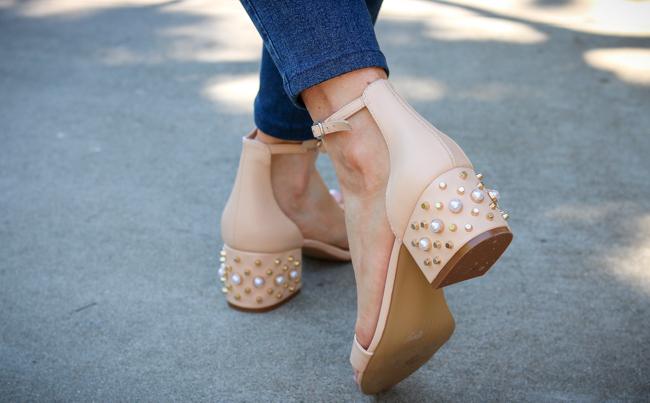 tan embellished Steve Madden sandals