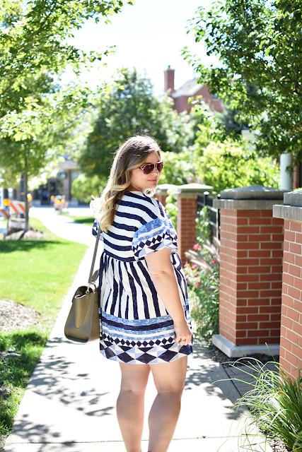 5dea146c57 sheinside blue and white geometric print dress zac posen eartha bag aviator  sunglasses blonde ombre hair
