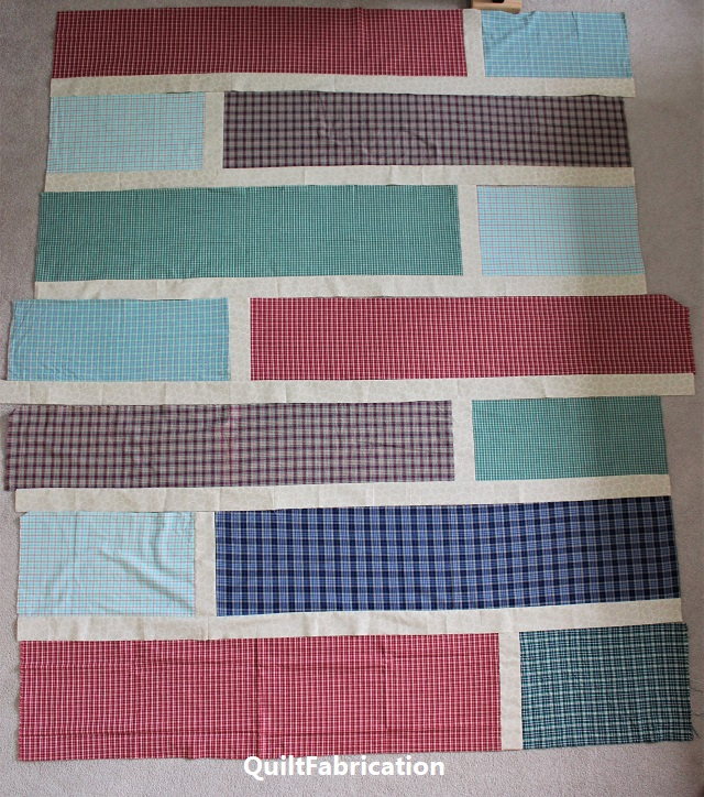 Finished Quarter Cut quilt rows