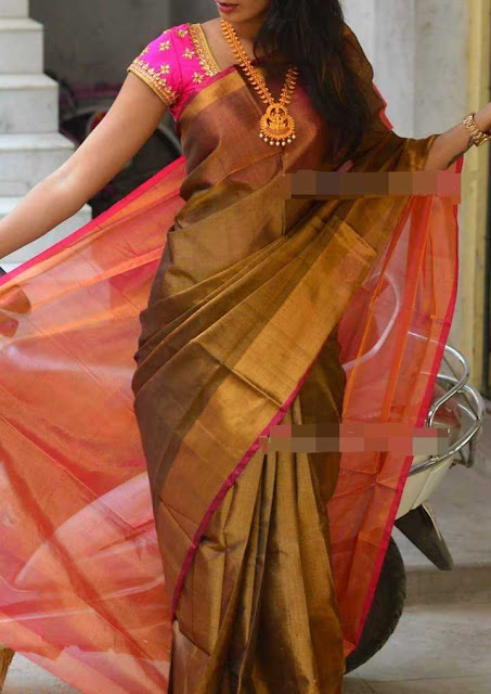 Uppada Black And Pink Combination Tissue Silk Saree
