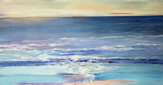 "Impressionism Seascape Painting ""Nature's Gentle Rhythm"" by International Seascape Artist Arrachme"