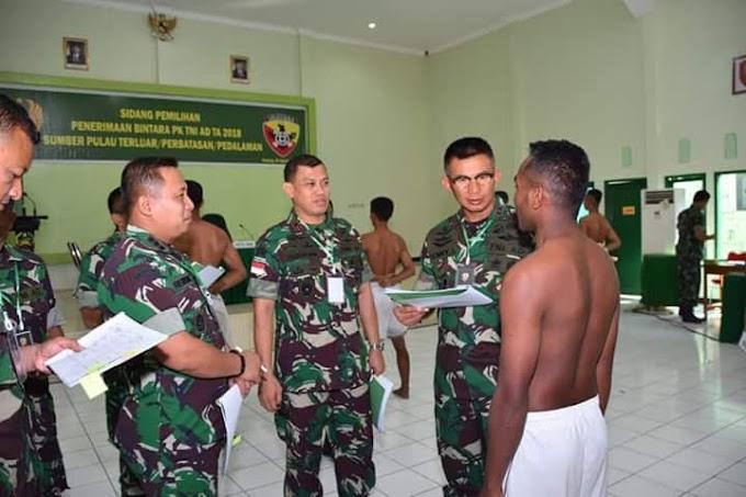 Sidang pemilihan penerimaan Bintara PK TNI AD Tahun 2018 sumber pulau terluar perbatasan dan pedalaman