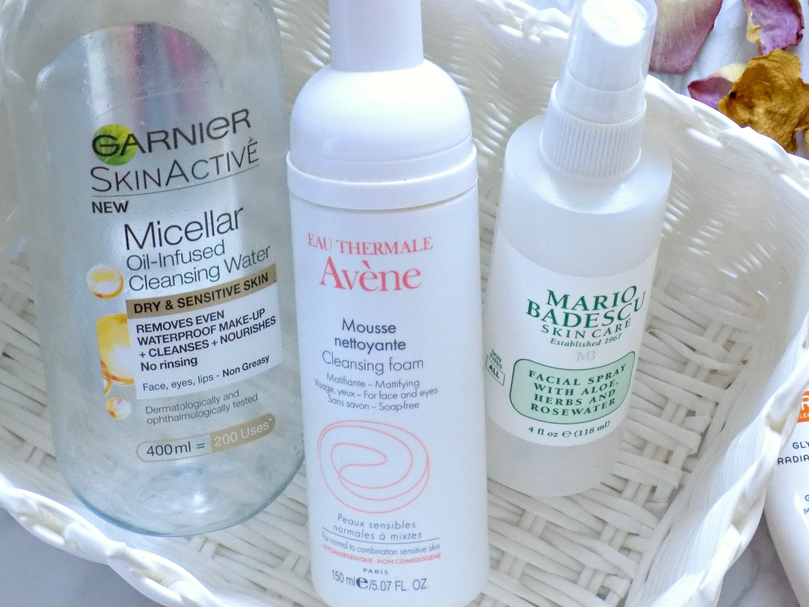 Garnier Oil-Infused Micellar Water, Mario Badescu Facial Spray