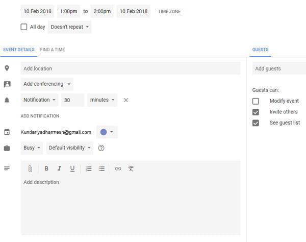 Google calendar में feature क्या है.