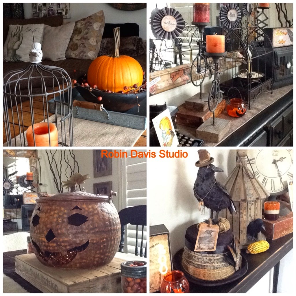 Love using vintage items to decorate for Halloween/Fall | Robin Davis Studio