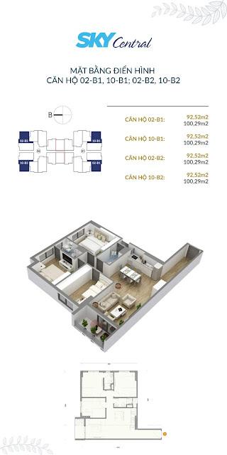 Thiết kế căn hộ 3 phòng ngủ tòa B
