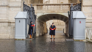 Two Guards waiting and securing the home of the pope