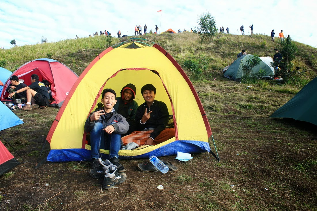 dataran tinggi dieng camping ground di bukit teletubbies