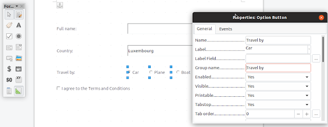 LibreOffice edit option buttons radio buttons group