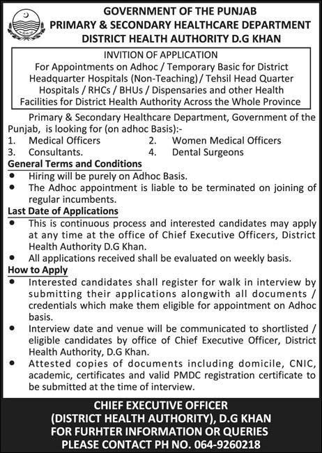 Latest Jobs In Primary And Secondary Healthcare Department