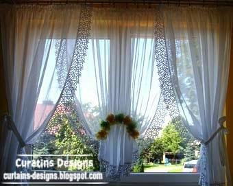 Unique Light White Curtains Designs For Kitchen Window