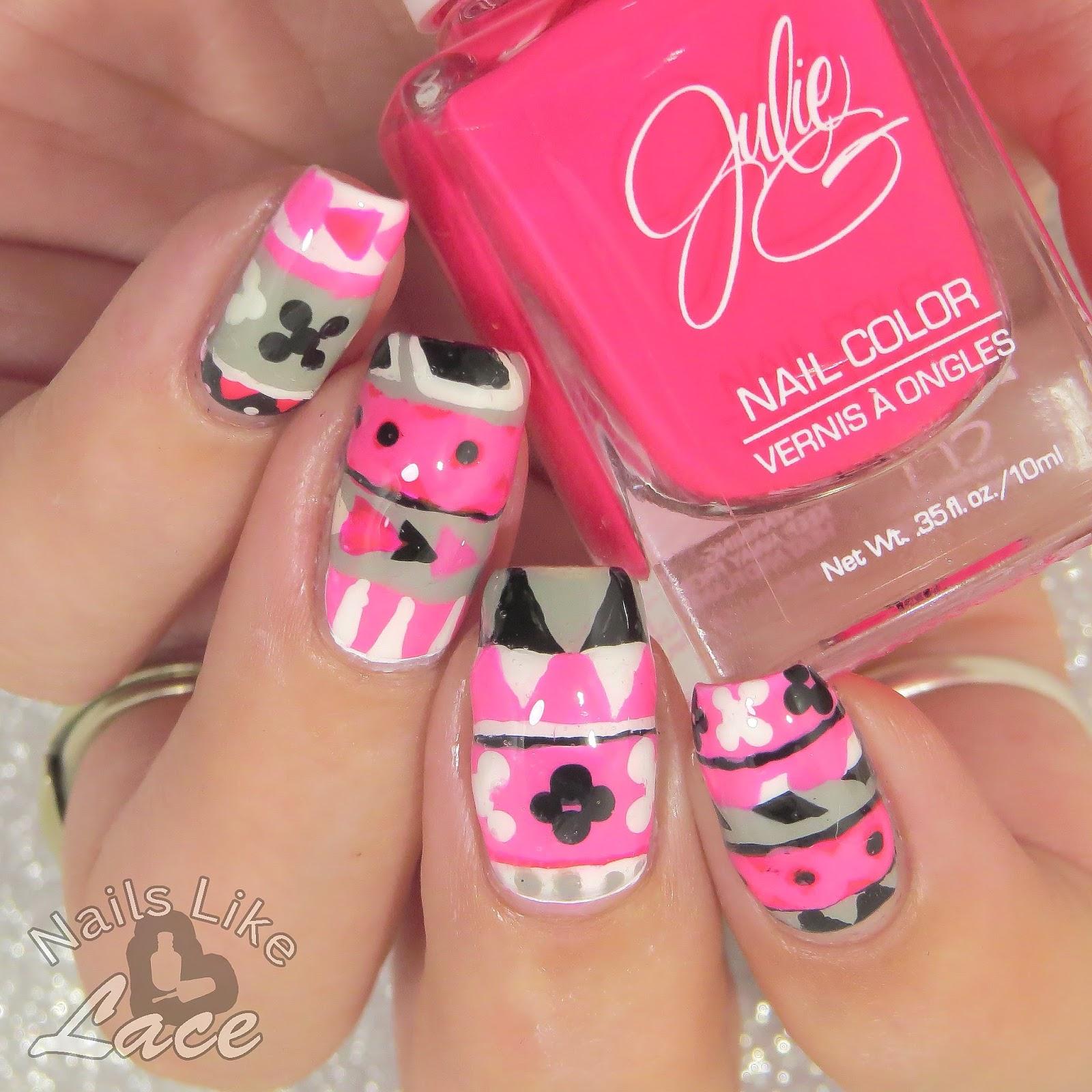 Nailslikelace 40 Great Nail Art Ideas Hot Pink Aztec