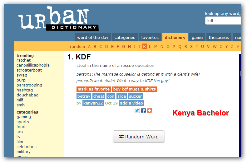 Kdf now appears in urban dictionary definition for Bachelor definition