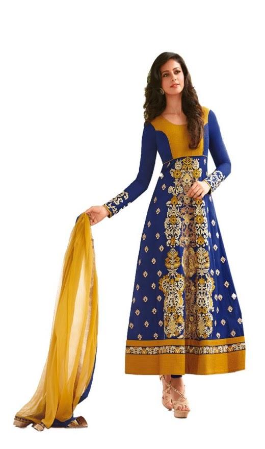 Rakul Preet Adorable Blue Orange Salwar Kameez