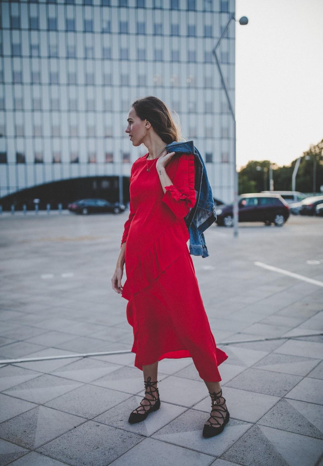 lindex red midi dress street style