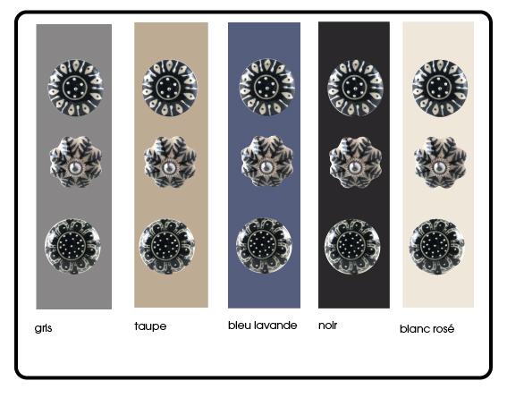 boutons de meubles artisan noir et blanc