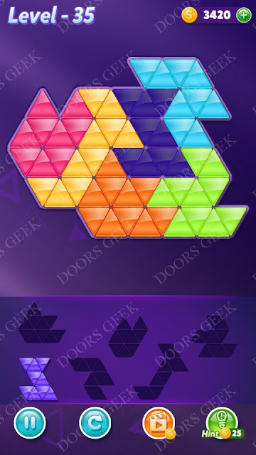 Block! Triangle Puzzle Intermediate Level 35 Solution, Cheats, Walkthrough for Android, iPhone, iPad and iPod