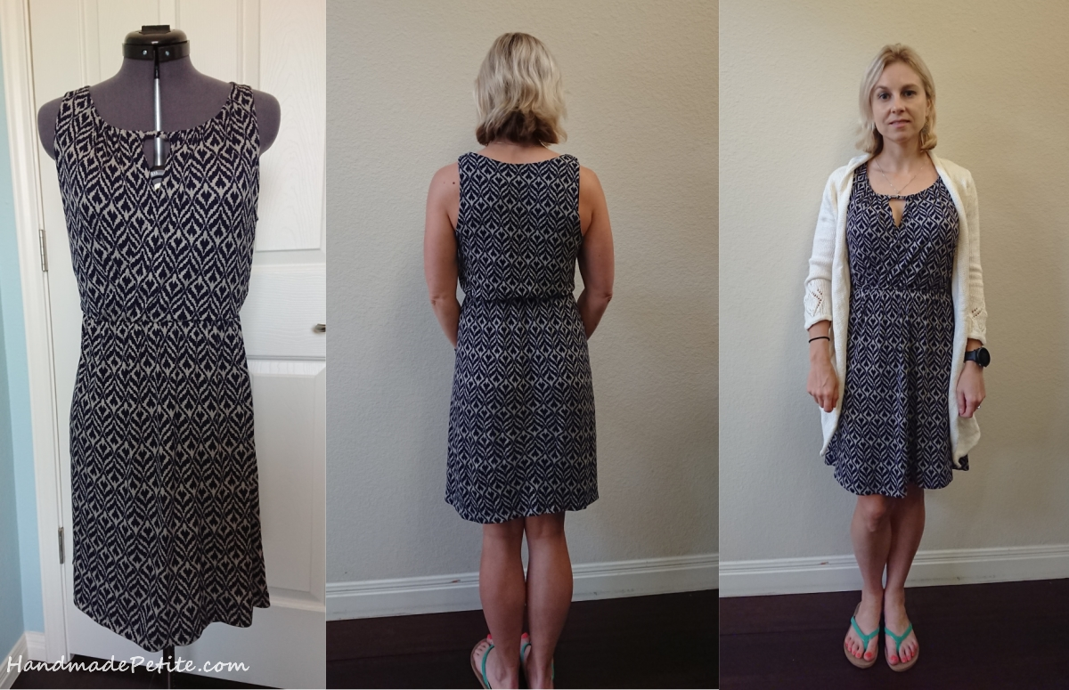 Sewing summer knit dress with keyhole in the front