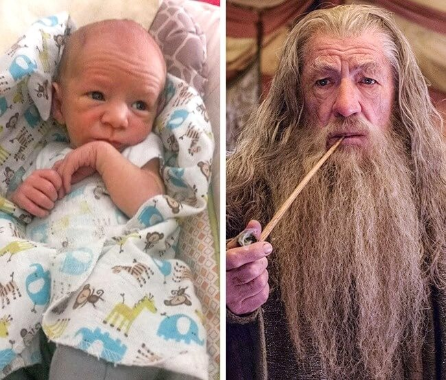 11 Funny Pictures Of Babies Who Resemble Popular Celebrities - Damn, it is Gandalf himself!