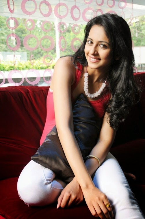 Tollywood Spicy Girl Rakul Preet Singh Smiling Face Pics In Red Top White Pant