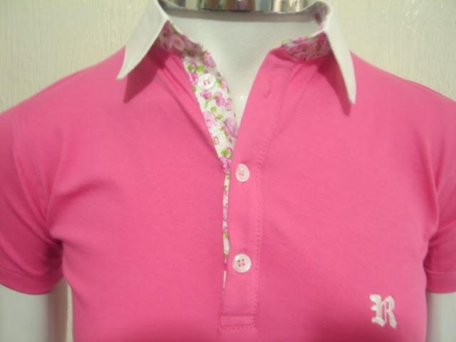 6c1dfaf1416b2 Camisa Polo Sport Acabamentos de Gola e Peitilho em Tricoline Floral Cor  Rosa Tecido Piquet com Elastano