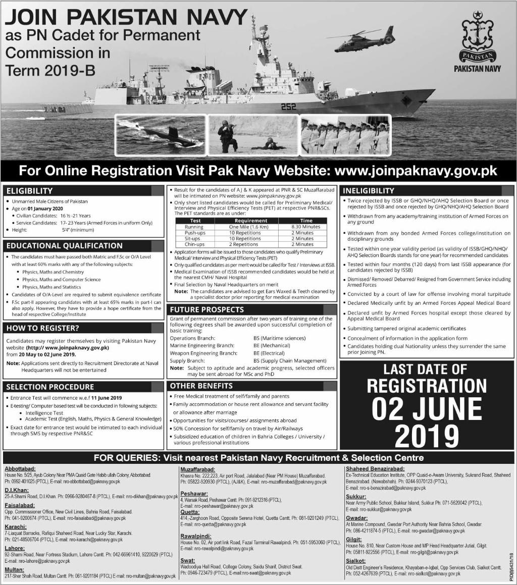 Pakistan Navy Latest Jobs 2019 May as PN Cadet for Commission