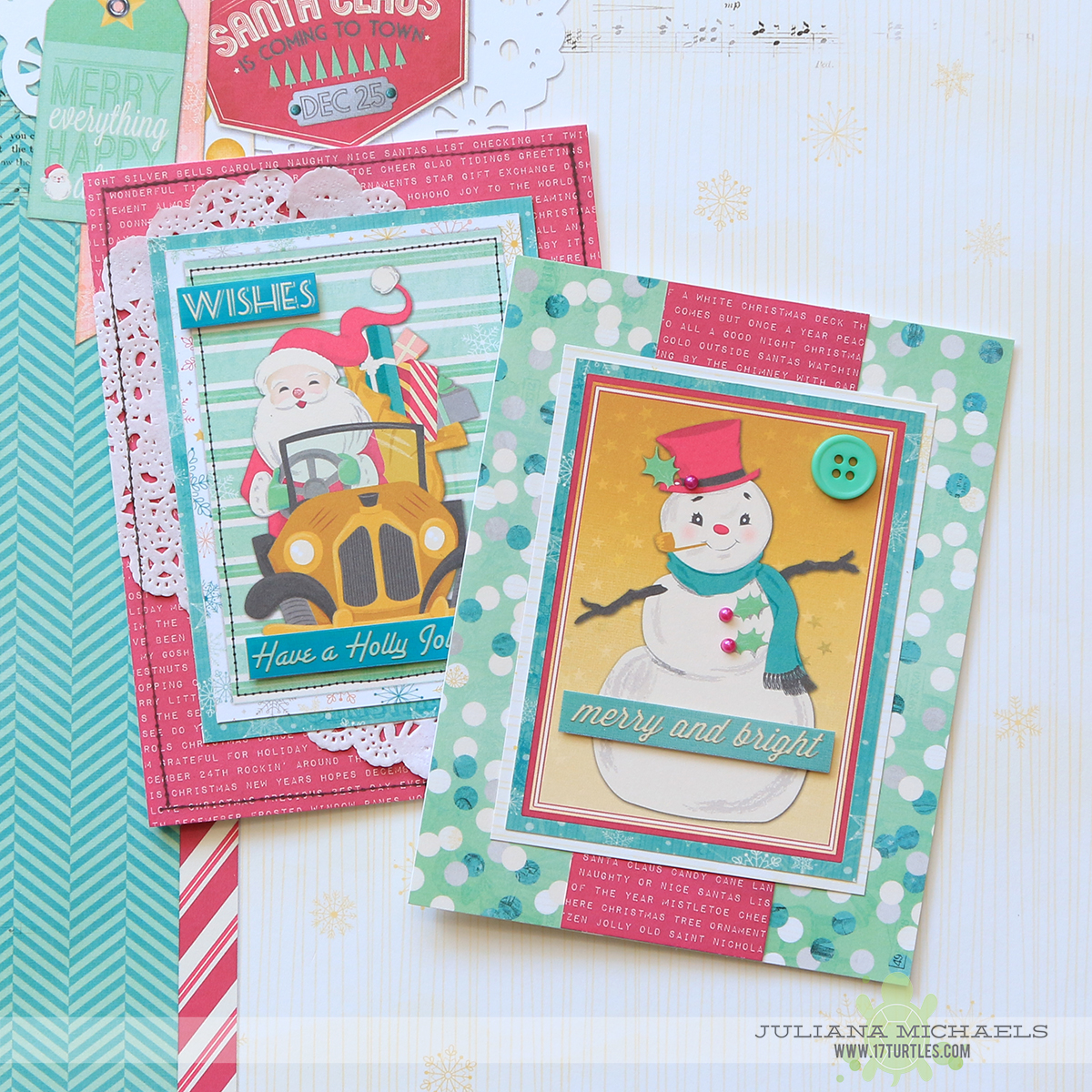 Christmas Cards featuring BoBunny Candy Cane Lane by Juliana Michaels