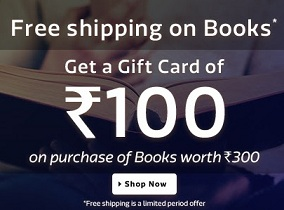 Get FREE Rs.100 worth Flipkart Gift voucher on purchase of Books worth Rs.300 @ Flipkart
